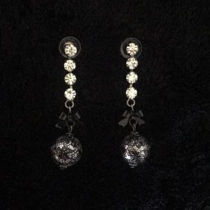 Betsey Johnson Dangle Earrings with Lace & Bow